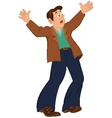 Cartoon man with open mouth holding hands up vector image
