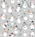 Funny snowmen s with buckets boots gloves vector image