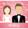 wedding couple lovely invitation and hearts vector image