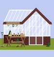 with greenhouse and gardening vector image