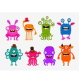 Fun cute cartoon monsters Set icons vector image