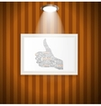 Hand signal on white frames in art gallery vector image