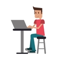 young man sitting working computer vector image