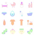 Baby pastel color icons set on white background vector image