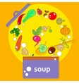 pan with open lid which cooks vegetarian soup vector image