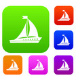 sailing ship set collection vector image