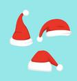 set of santa hats in vector image