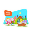 two chicks frolic have fun next to easter basket vector image