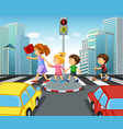 children crossing street in city vector image vector image