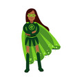 Ecological superhero woman standing with folded vector image