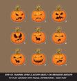 Jack O Lantern Cartoon 9 Angry Expressions Set vector image