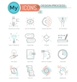 Modern thin line icons set of design process vector image