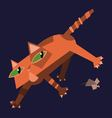 Red cat with mouse vector image