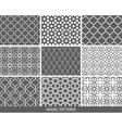 Set of nine monochrome Arabic patterns vector image