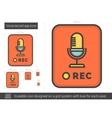 Voice record app line icon vector image