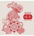 mehendi Rooster red 2017 vector image vector image