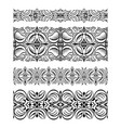 set of abstract seamless lace borders with hatch vector image