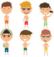 beach male characters vector image vector image