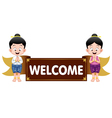 Thai kids with welcome sign vector image vector image