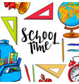 square frame banner with school items round vector image