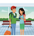 loving couple standing at airport traveling scene vector image