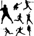 baseball silhouettes collection 2 vector image