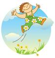 jumping boy vector image vector image