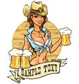 Sexy cowgirl with glasses of beer vector image