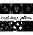 Set of ink hand drawn abstract seamless patterns vector image vector image