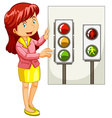 Teacher explaining traffic signals vector image vector image