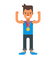 Happy male winner wearing a gold medal Coloured vector image