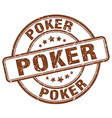 poker brown grunge round vintage rubber stamp vector image