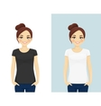 Cute girl in T-shirts vector image vector image