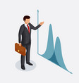 businessman with a briefcase points to a chart or vector image