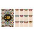 calendar 2018 year ethnic mandala vector image