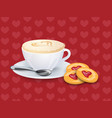 cup with coffee spoon and cookies on a pattern vector image