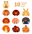Icons with animals vector image