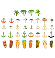 Set of objects summer vector image