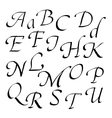 Hand-written font in black ink italic vector image vector image