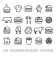 collection of hamburger line icons vector image