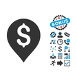 Banking Map Marker Flat Icon with Bonus vector image