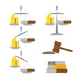 set of balance with money gold coins and lawbook vector image