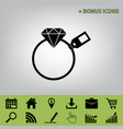 diamond sign with tag  black icon at gray vector image