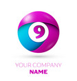 number nine symbol in the colorful circle vector image