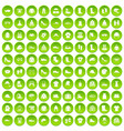 100 clothing and accessories icons set green vector image