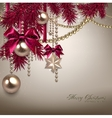 Elegant Christmas background with golden garland vector image vector image