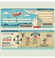Cruise ship boarding pass design template vector image