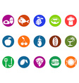 foods and restaurant round button icons set vector image vector image
