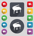 Grand piano icon sign A set of 12 colored buttons vector image