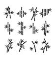 Bamboo icons Asian plant stalks and leaves vector image